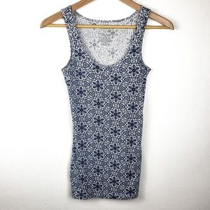Time And Tru | Blue Patterned Tank Top Small